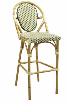 Natural Base Finish / Beige - Green Nylon All-Weather Outdoor Bamboo Style Bar Stool