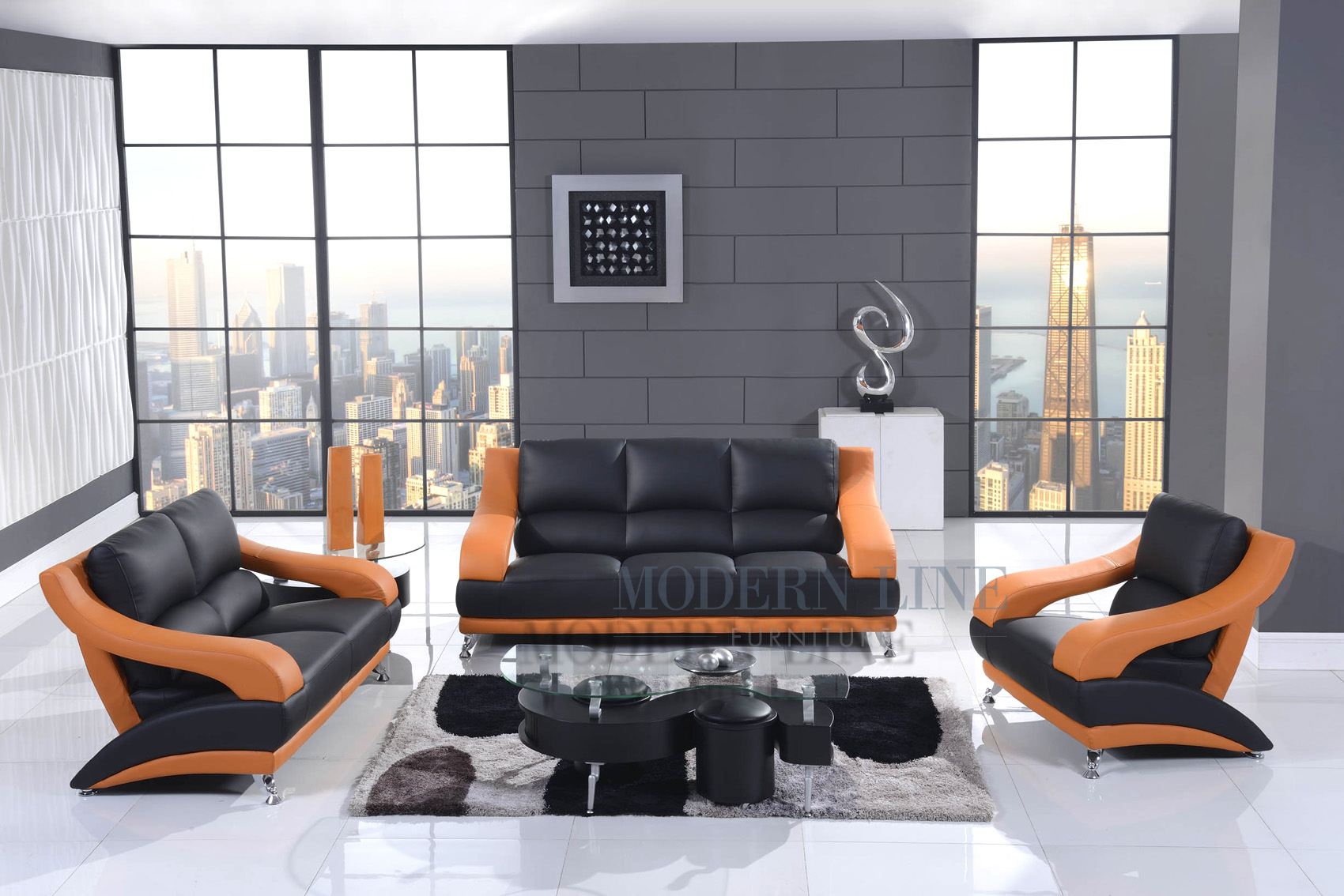 Modern Line Furniture   Commercial Furniture   Custom Made Furniture |  Orange U0026 Black Leather Modern Living Room Set: Sofa, Loveseat U0026 Chair Part 13