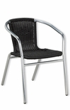 Outdoor Aluminum Black Wicker Stacking Chair