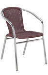 Outdoor Aluminum Burgundy Wicker Stacking Chair