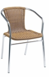 Outdoor Aluminum Tan Wicker Stacking Chair
