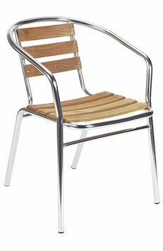 Outdoor Aluminum Teak Stacking Chair