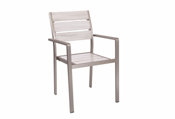 Outdoor Stacking Antique White Chair with Arms