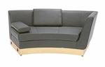Right-Sided Black Curved Chaise with Custom Kick Panel - Commercial Grade