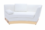 Right-Sided White Curved Chaise with Custom Kick Panel - Commercial Grade