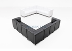 Set of 2 Modular Leather Sectionals in Black and White Leather