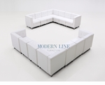 Modular Two Sectional Sofas - Tufted Back - Flat Seat