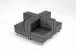 Set of 4 Modern Modular Black Leather Corners