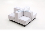 Set of 4 Modern Modular White Leather Corners