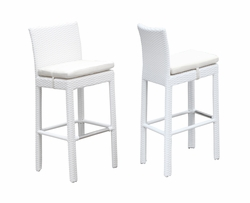 Set of FOUR White Wicker with White Cushions Outdoor Bar Stools