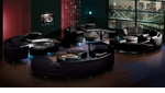 Special VIP Modern Design, Four Sets of Black Leather Sectional Sofa, Ottoman and Bar-Ottoman