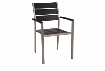 Stackable Outdoor Black Teak Restaurant Chair with Arms