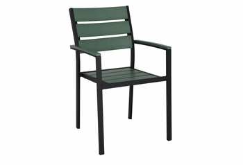 Stackable Outdoor Green Teak Restaurant Chair with Arms
