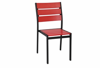 Stackable Outdoor Red Teak Restaurant Chair