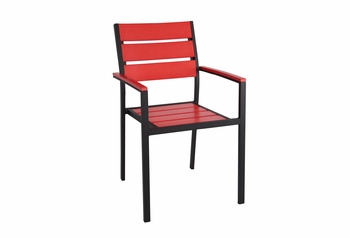 Stackable Outdoor Red Teak Restaurant Chair with Arms