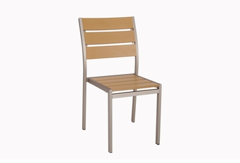 Stackable Outdoor Tan Teak Restaurant Chair