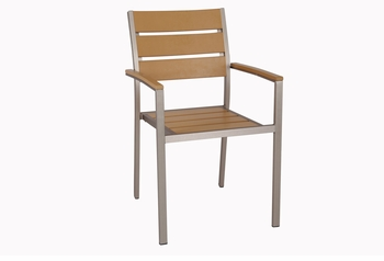 Stackable Outdoor Tan Teak Restaurant Chair with Arms