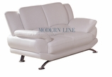Stunning Contemporary White Leather Loveseat