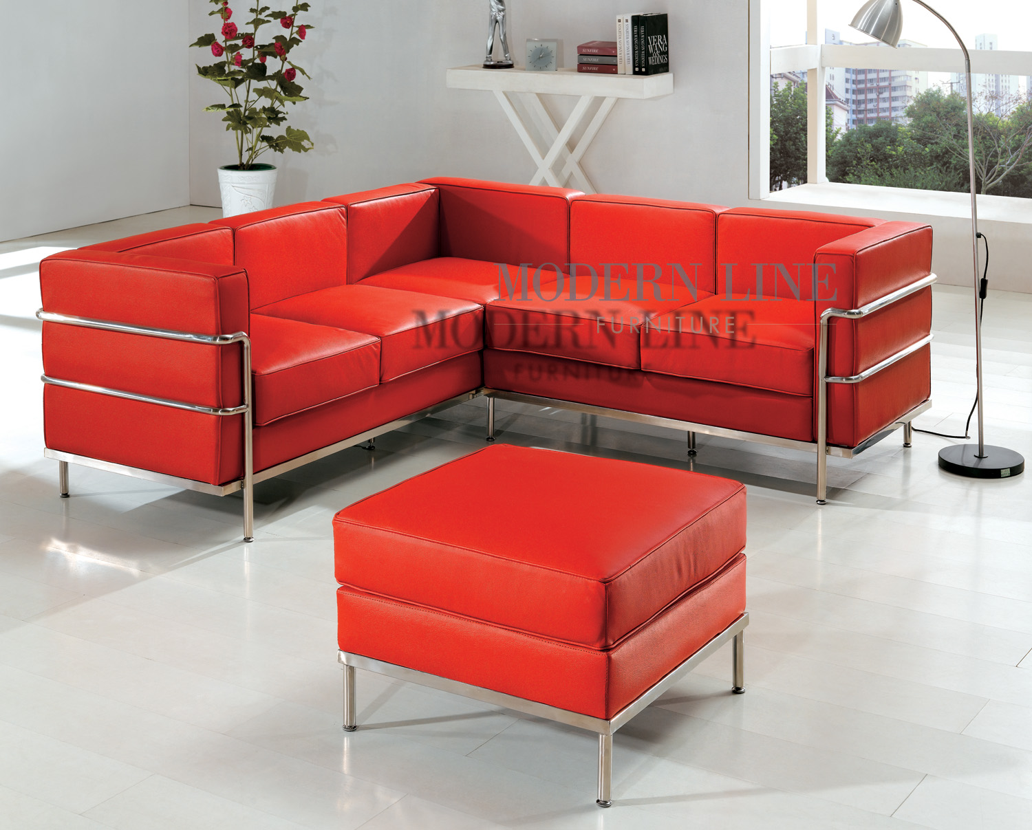 Red leather sectionalcherry red leather sectional sofa for Red leather sectional sofa with ottoman