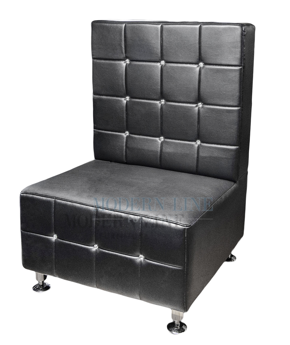 Black leather armless chair -  Furniture Custom Made Furniture Seating Collection Swarovski Crystal Tufted Modern Modular Black Leather Armless Chair Made In Usa