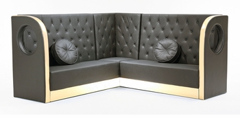 Tufted Black Sectional Sofa with Custom Kick Panel - Seating Arrangement G4