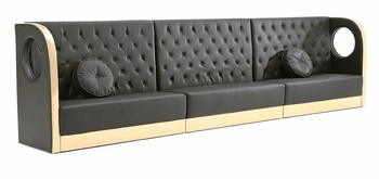 Tufted Black Sectional Sofa with Custom Kick Panel - Seating Arrangement G5
