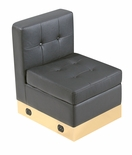 Tufted Black with Custom Kick Panel - Armless Chair Component