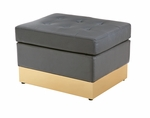Tufted Black with Custom Kick Panel - Ottoman