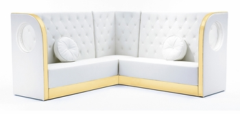 Button Tufted Sectional Sofa with Custom Kick Panel - Seating Arrangement G4