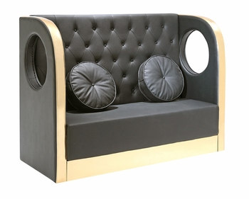 Button Tufted Tall Banquette Sofa with Custom Kick Panel