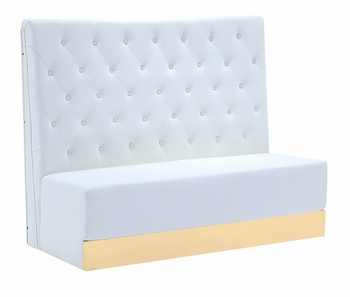 Button Tufted Tall Booth with Custom Kick Panel