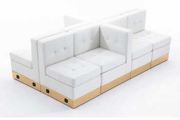 Tufted White with Custom Kick Panel - Arrangement G2
