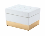 Tufted White with Custom Kick Panel - Ottoman