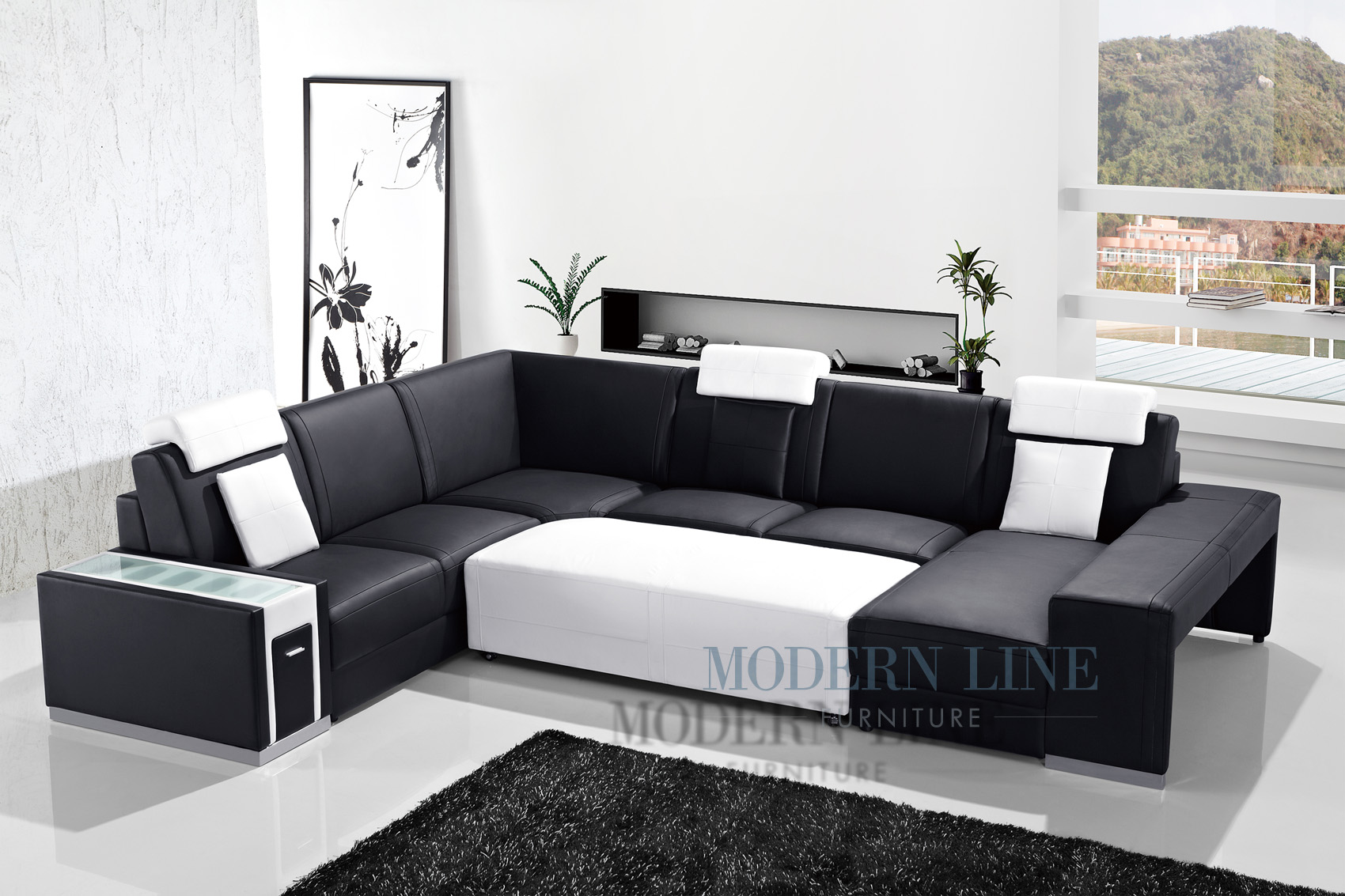 Modern Line Furniture - Commercial Furniture - Custom Made Furniture | Ulta Modern Black Leather Sectional Sofa with Console And Large Ottoman
