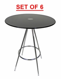 LIQUIDATION! Round Dining Table Black Tempered Glass (SET OF SIX)
