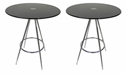 LIQUIDATION! Round Dining Table Black Tempered Glass (SET OF TWO)