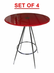 LIQUIDATION! Round Dining Table Red Tempered Glass (SET OF FOUR)