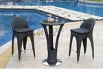 Unique Modern Outdoor Patio Bar Table Set - Bar Table with 2 Bar Stools With Black Seat Cushions
