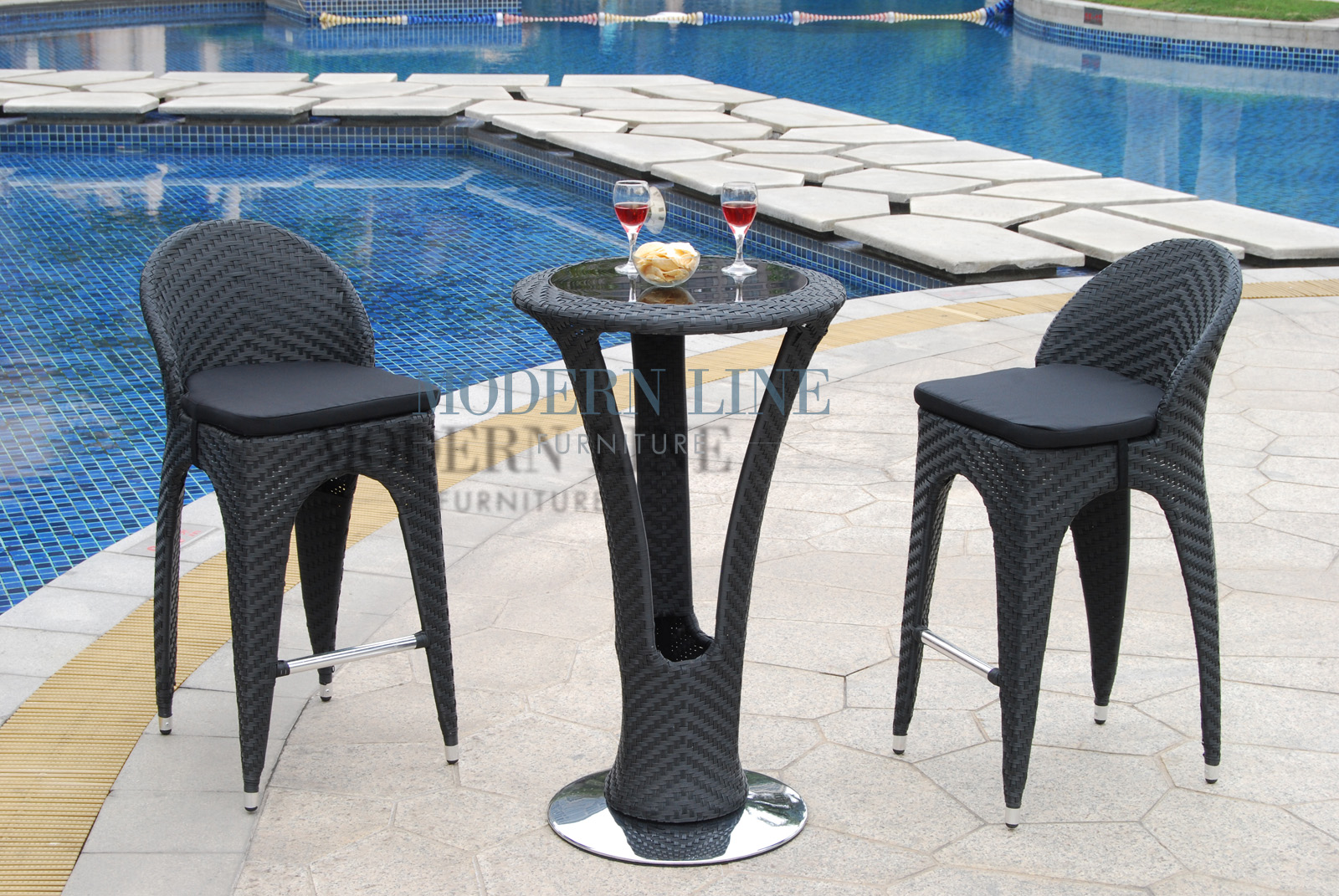 Delightful ... Outdoor Furniture | Outdoor Patio Dining | | Unique Modern Outdoor  Patio Bar Table Set   Bar Table With 2 Bar Stools With Black Seat Cushions