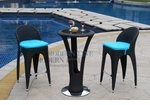 Unique Modern Outdoor Patio Bar Table Set Bar Table with 2 Bar Stools With Blue Seat Cushions