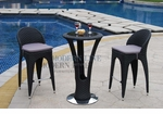 Unique Modern Outdoor Patio Bar Table Set Bar Table with 2 Bar stools With Grey Seat Cushions