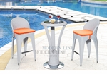Unique Modern Outdoor Patio Bar Table Set Bar Table with 2 Bar stools With Orange Seat Cushions