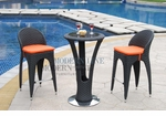 Unique Modern Outdoor Patio Bar Table Set Bar Table with 2 Bar stools With Pumpkin Seat Cushions