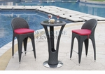 Unique Modern Outdoor Patio Bar Table Set Bar Table with 2 Bar stools With Red Seat Cushions
