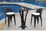 Unique Modern Outdoor Patio Bar Table Set Bar Table with 2 Bar stools With White Seat Cushions