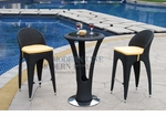 Unique Modern Outdoor Patio Bar Table Set Bar Table with 2 Bar stools With Yellow Seat Cushions