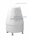 White Leather - Button Tufted - Cone Shaped Tower