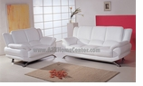 White Leather Contemporary Sofa Loveseat Set