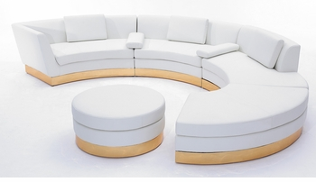 White Modular Sectional with Custom Kick Panel - Commercial Grade