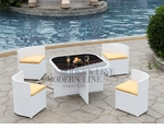 White Rattan Patio Dining Set with Yellow Cushions